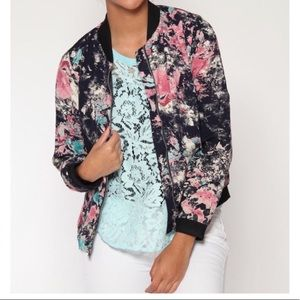 🆕NWT The Nines Abstract Floral Bomber Jacket